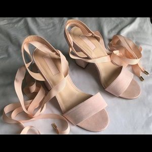 Forever 21 Rose Pink Nude Tie-up Lace Heels🤍